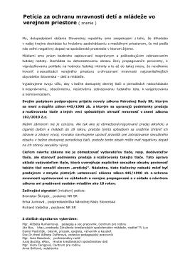 Petícia za ochranu mravnosti detí a mládeže vo