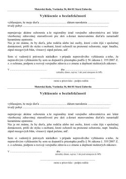 Potvrdenie o bezinfekč. - Materska škola Vsetínska