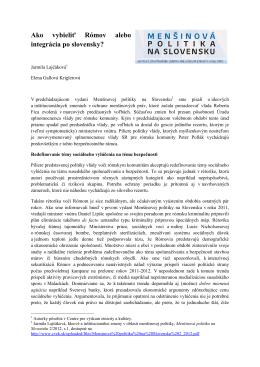 Ako vybieliť Rómov alebo integrácia po slovensky?