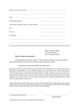Žiadosť o vydanie Rezidenčnej karty parkovného