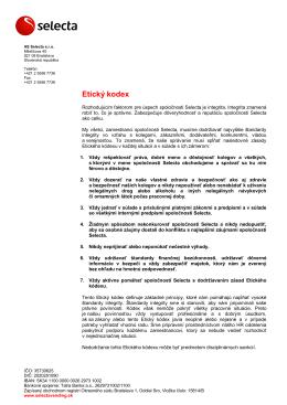 Etický kódex Selecta Slovensko (PDF, 174kB)