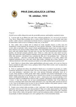 1. Zakladajúca listina z 18. októbra 1914