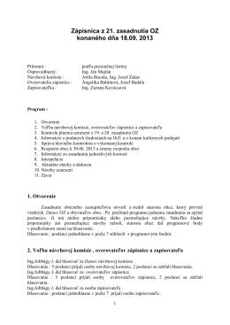 Zápisnica z 21. zasadnutia OZ konaného dňa 18.09