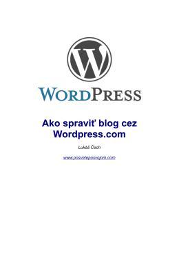 Ako spraviť blog cez Wordpress.com