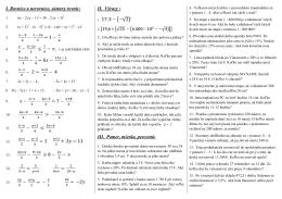 I. Rovnice a nerovnice, sústavy rovníc: II. Výrazy : III. Pomer, mierka