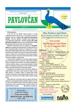 XVI.ročník Dní Pavloviec nad Uhom 15. až 19. augusta 2012