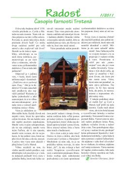 Farský časopis Radosť 1/2011