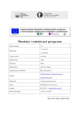 Školský vzdelávací program - archív