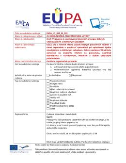 Číslo metodického nástroja EUPA_LO_012_M_015 Názov a číslo