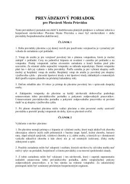 PREVÁDZKOVÝ PORIADOK - Technické služby mesta Prievidza