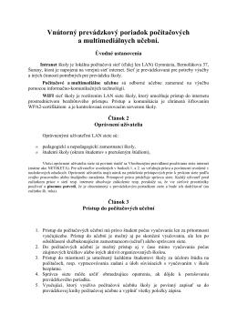 Vnútorný poriadok IVT - Gymnázium, Bernolákova 37, Šurany