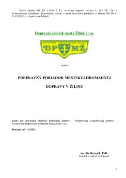 Mestský prepravný poriadok platný od 1.10.2012