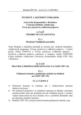 ŠTUDIJNÝ A SKÚŠOBNÝ PORIADOK Univerzita Komenského v