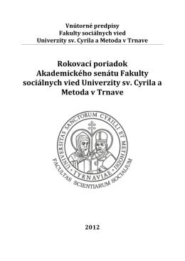 Rokovací poriadok Akademického senátu FSV UCM