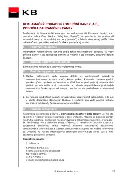 Reklamačný poriadok (PDF súbor)