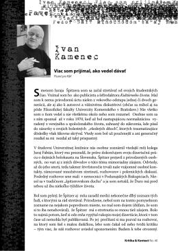 Ivan Kamenec - Kritika & Kontext