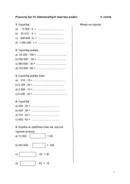 Pracovný list 15: Delenie veľkých čísel bez zvyšku 5. ročník 1