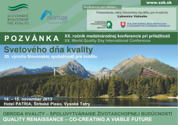 Svetového d a kvality - Slovenská spoločnosť pre kvalitu