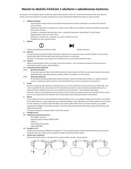 Návod na obsluhu CicloCam 1 okuliarov s