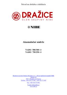 Návod na obsluhu a inštaláciu NADO 500/300 (750