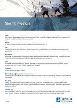 Slovník investora - Pioneer Investments