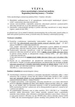 Výzva výboru anestéziológie a intenzívnej medicíny