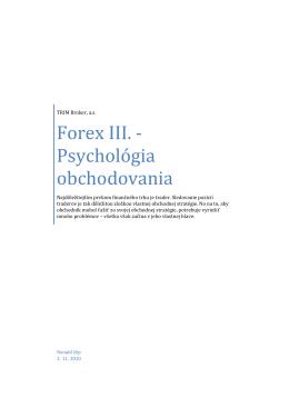 Forex III. -Psychológia obchodovania