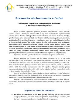 Prevencia obchodovania s ľuďmi - CPPPaPKE Zuzkin