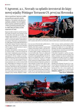 V Agrorent, a.s., Nesvady sa oplatilo investovať do kúpy