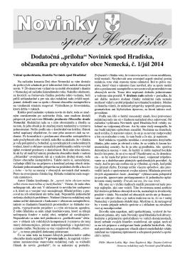 """Dodatočná """"príloha"""" Noviniek spod Hradiska"""