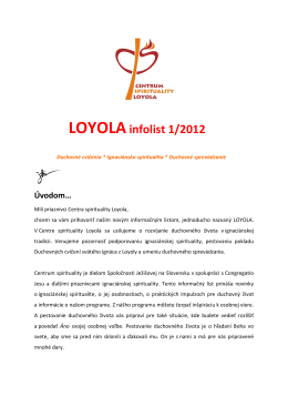 LOYOLAinfolist 1/2012 - Centrum Spirituality Loyola