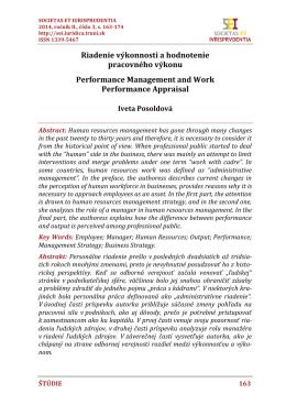 Riadenie výkonnosti a hodnotenie pracovného výkonu