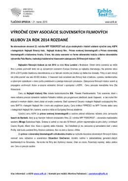 výročné ceny asociácie slovenských filmových