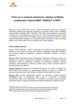 Prečo sa vo verejnom obstarávaní vyžadujú certifikáty IPMA