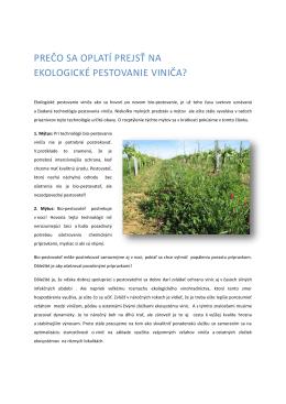 prečo sa oplatí prejsť na ekologické pestovanie viniča?