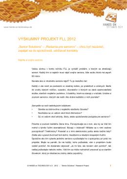 Výskumný projekt FLL 2012