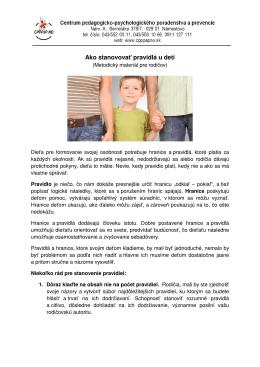Ako stanovovať pravidlá u detí