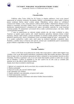 Vnútorný poriadok - Folklórny súbor Turiec