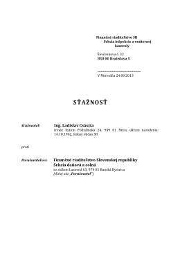 SŤAŽNOSŤ - Ing. Ladislav Császta