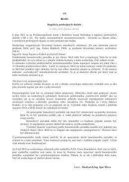 BLOG Regulácia profesijných služieb. 8 júna 2011 sa na