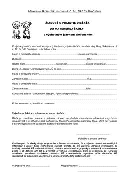 Materská škola Sekurisova ul. č. 10, 841 02