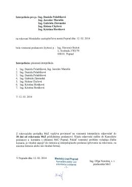Interpelácia pre p.: Ing. Daniela Polaštiková Ing