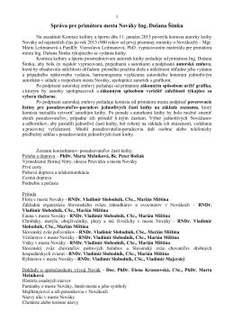 Správa pre primátora mesta Nováky Ing. Dušana Šimku