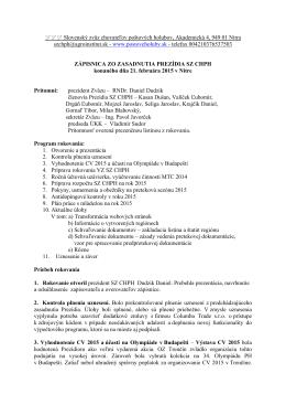 Zasadnutie prezídia 21.02.2015