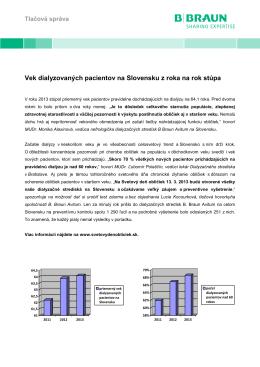 Vek dialyzovaných pacientov na Slovensku z roka na rok stúpa