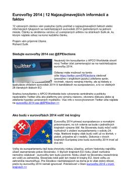 Eurovoľby 2014 | 12 Najzaujímavejších informácií a faktov
