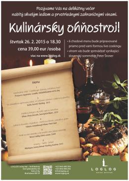 Pozývame Vás na delikátny večer nabitý skvelým jedlom