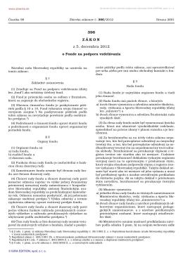 396/2012 Zákon o Fonde na podporu vzdelávania