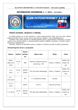 1 - Klub psychotroniky a UFO