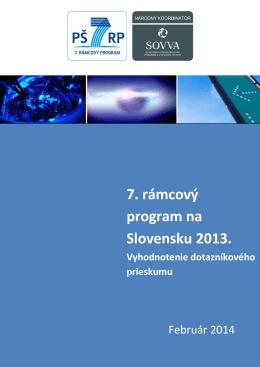 PŠ7RP v roku 2013: vyhodnotenie dotazníkového prieskumu